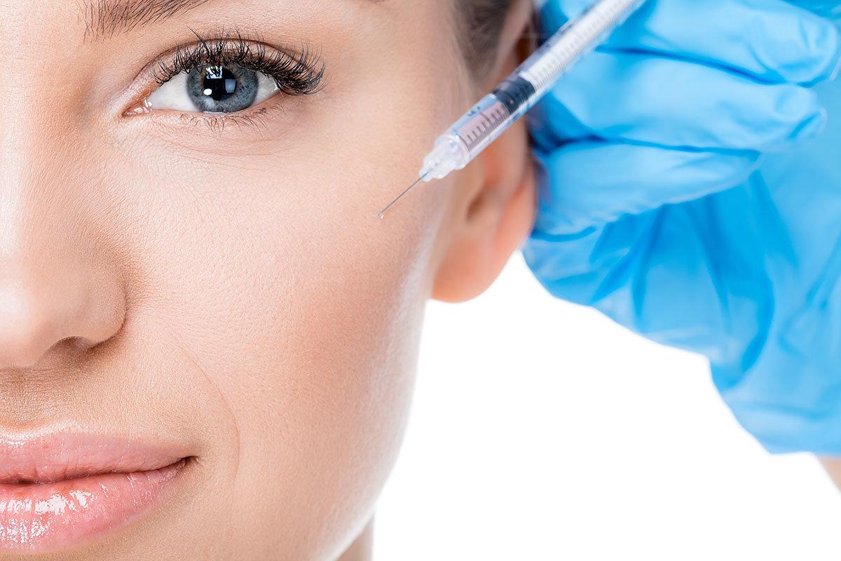 Partielle Ansicht weibliche Botox-Injektion